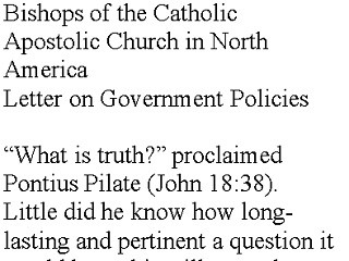 Letter on Government Policies from the Bishops of the Catholic Apostolic Church in North America