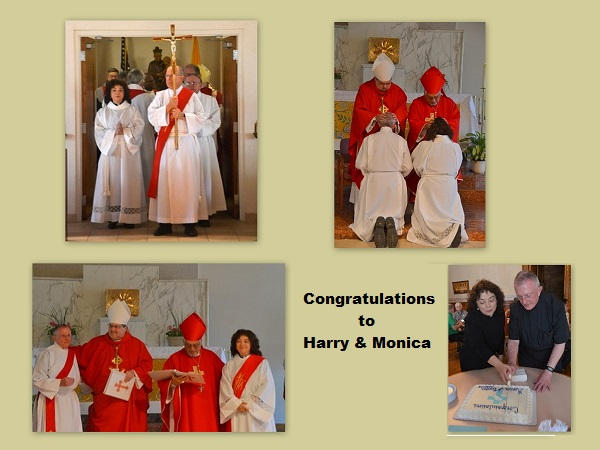 Collage of images of the ordination of Monica and Harry